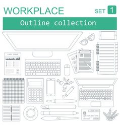 Working place in outline linear flat design vector image