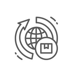 Worldwide delivery line icon vector
