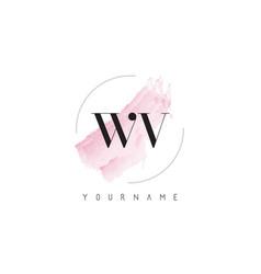 Wv w v watercolor letter logo design vector