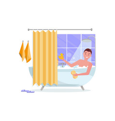 Young man taking bathtub with bubble foam vector