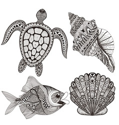 Zentangle stylized black sea shells fish and vector