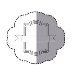 contour square emblem with ribbon icon vector image vector image