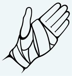 Hand tied elastic bandage vector image vector image