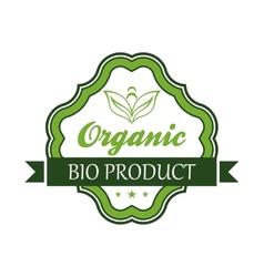 Organic bio product emblem or label vector image vector image