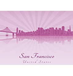 San Francisco skyline in purple radiant orchid vector image vector image