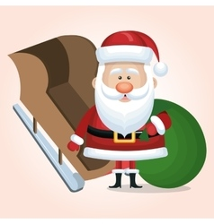 santa claus card with sleigh and bag vector image vector image