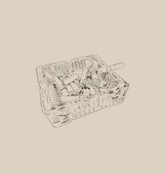 ashtray and smoked cigarettes sketch vector image