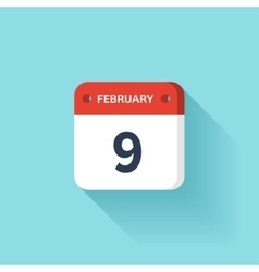 February 9 Isometric Calendar Icon With Shadow vector image vector image