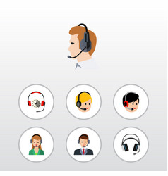 flat telemarketing set of headphone call center vector image vector image