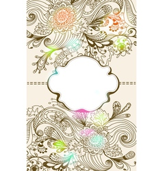 floral card with label vector image vector image