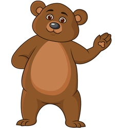 Funny brown bear cartoon vector image