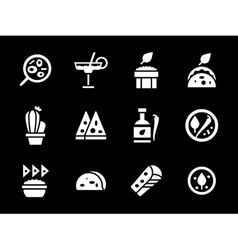Simple white glyph mexican menu icons vector image