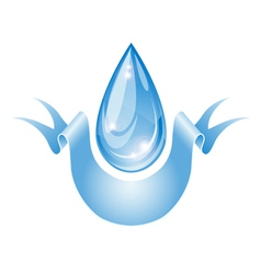 Stylized water drop with ribbon vector image vector image