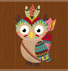 tribal owl on wooden background vector image vector image