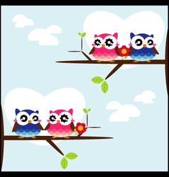 Couples of owls sitting on branches vector image vector image