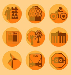 Flat Berlin icons with shadow vector image vector image