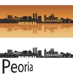 Peoria skyline in orange vector image