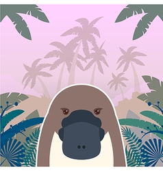 Platypus on the Jungle Background vector image vector image