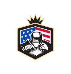 welder arc welding usa flag crest retro vector image vector image