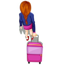 A topview of a lady pulling a stroller vector image vector image
