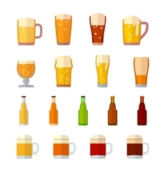 Beer icons in flat style vector image vector image
