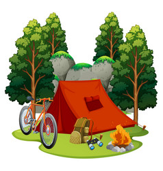 camping site with tent and campfire vector image vector image
