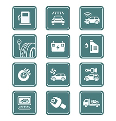 Car service icons - TEAL series vector image vector image