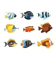 Cute cartoon tropical exotic freshwater aquarium vector image vector image
