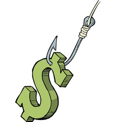 dollar on the hook vector image vector image