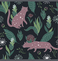 floral background with cat vector image vector image