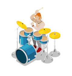 isometric rock drummer playing on drums vector image vector image