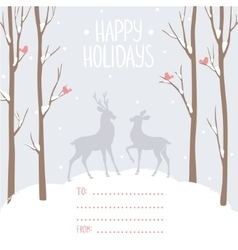 postcard winter deer vector image vector image