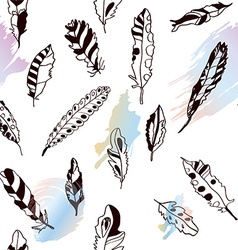 Seamless pattern with feathers and bright artistic vector image vector image