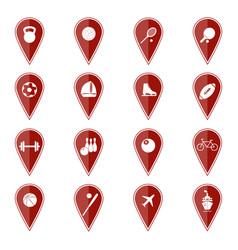 set of red map pointers with sport icons vector image