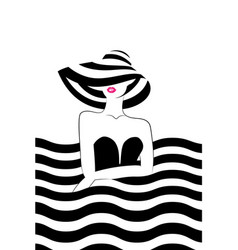 woman with hat at the sea vector image