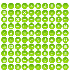 100 shipping icons set green vector