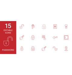 15 password icons vector image
