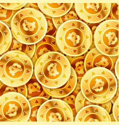 A lot of bright glossy golden coins with bitcoin vector