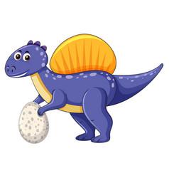 a spinosaurus dinosaur holding egg vector image