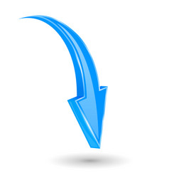 Arrow down blue 3d shiny sign vector