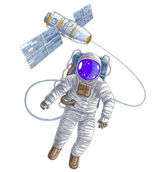 astronaut flying in open space connected to space vector image