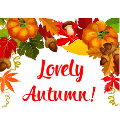 autumn season poster thanksgiving holiday design vector image