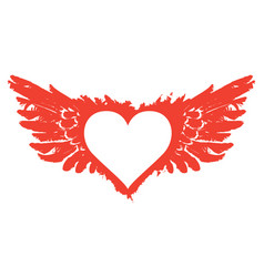 banner with red flying heart with wings vector image