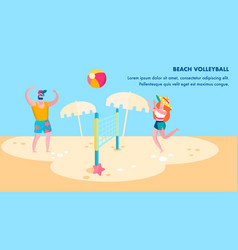 beach volleyball competition flat banner template vector image