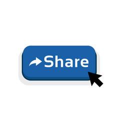 Blue cartoon share button icon vector