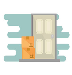 Boxes with door delivery service vector