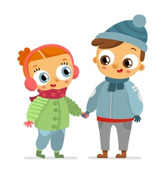Boy and girl in winter clothes isolated on white vector image