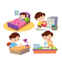 boy working in home many action vector image