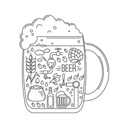 brewing icons in silhouette beer mug vector image