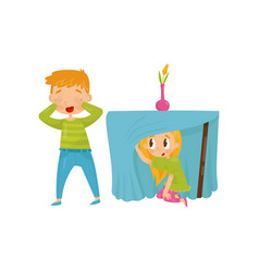 brother and sister playing hide-and-seek girl vector image